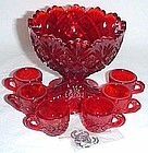 Westmoreland Glass Ruby Red FAN and FILE CHILDS PUNCH SET