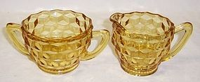 Jeannette Depression Yellow CUBE CUBIST CREAMER and SUGAR BOWL