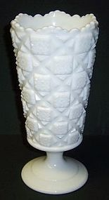 Westmoreland Milk Glass OLD QUILT 9 1/4 Inch High FOOTED VASE
