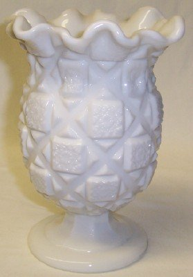 Westmoreland Milk Glass OLD QUILT 6 1/2 Inch RUFFLED TOP VASE