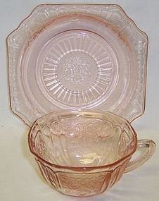 Hocking Pink MAYFAIR OPEN ROSE CUP and SAUCER with CUP RING