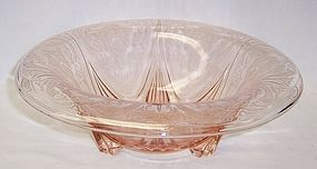 Hazel Atlas Pink ROYAL LACE 10 1/4 Inch 3 Leg ROLLED EDGE BOWL
