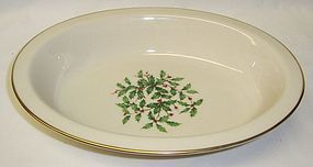Lenox Ivory Christmas HOLLY SPECIAL RIMMED OVAL SERVING BOWL