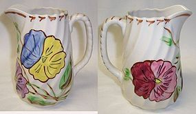 Blue Ridge Potteries PANSY SPIRAL 6 Inch High MILK PITCHER