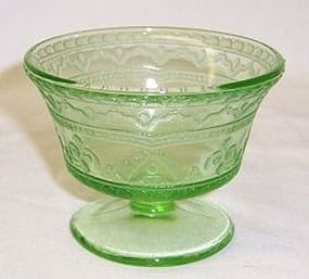 Federal Depression Green PATRICIAN SPOKE Footed SHERBET Dish