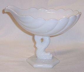 Westmoreland Milk Glass DOLPHIN FOOT 6 Inch High SHELL COMPORT