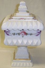 Westmoreland Milk Glass ROSES and BOWS 8 Inch Square WEDDING JAR
