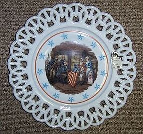 Westmoreland Milk Glass BETSY ROSS-FIRST STARS and STRIPES FLAG Plate