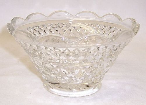 Anchor Hocking Crystal WEXFORD 4 7/8 In SCALLOPED FRUIT BOWL