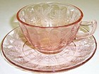 Jeannette Pink FLORAL POINSETTIA Coffee or Tea CUP and SAUCER