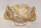 Cambridge Crystal Gold Encrusted WILDFLOWER 5 1/2 In Handled BASKET