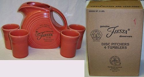 Homer Laughlin Persimmon FIESTA 5 Piece WATER SET, Original Box