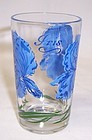 Unknown Maker Vintage PEANUT BUTTER 3 3/4 JUICE GLASS - Blue IRIS