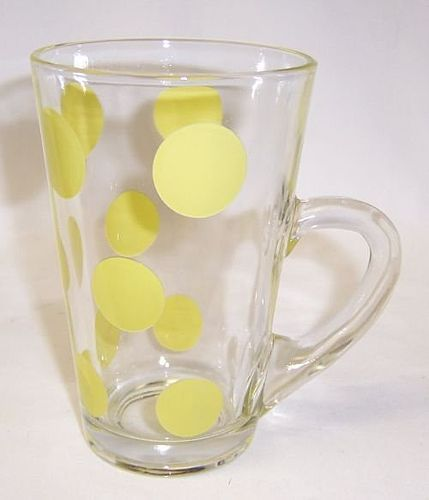 Anchor Hocking Crystal with Yellow DOTS 5 1/4 Inch CONE Shaped MUG