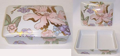 Fitz and Floyd FLEUR FANTASIA Porcelain PLAYING CARD BOX