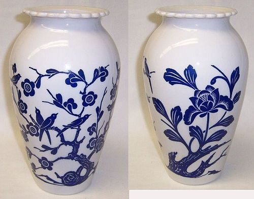 Anchor Hocking Fie King VITROCK 9 Inch High Blue BIRD and FLOWER VASE