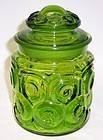 Smith Glass Green MOON and STARS 7 Inch CANISTER JAR with LID