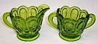 Smith Glass Green MOON and STARS 2 3/4 Inch CREAMER and SUGAR Set