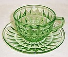 Jeannette Depression Green WINDSOR DIAMOND CUP and SAUCER