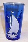 Hazel Atlas Cobalt Blue SAILBOAT SHIPS 5 Inch TUMBLER