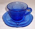Hazel Atlas Cobalt Blue ROYAL LACE Coffee or Tea CUP and SAUCER