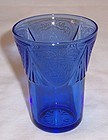 Hazel Atlas Cobalt Blue ROYAL LACE 3 3/8 Inch 6 Ounce JUICE TUMBLER