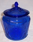 Hazel Atlas Cobalt Blue ROYAL LACE COOKIE or CRACKER JAR with LID
