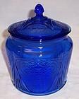 Hazel Atlas Cobalt Blue ROYAL LACE COOKIE or CRACKER JAR with LID