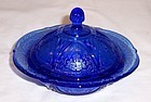 Hazel Atlas Cobalt Blue ROYAL LACE BUTTER DISH with LID