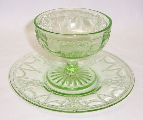 Hocking Green CAMEO BALLERINA Molded SHERBET and SHERBET PLATE