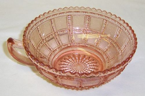 Imperial Glass Pink BEADED BLOCK 5 1/2 Inch One HANDLED BOWL