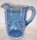 U. S. Glass Blue AUNT POLLY 8 Inch Tall WATER or BEVERAGE PITCHER