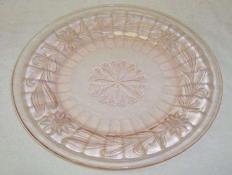 Jeannette Depression Glass Pink SUNFLOWER 9 Inch DINNER PLATE