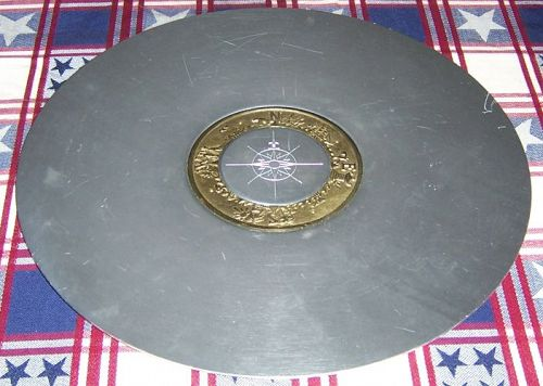 Kensington Ware ALUMINUM Brass Inlay 15 Inch ROUND COMPASS TRAY