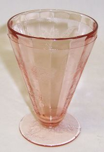 Jeannette Depression Glass Pink FLORAL POINSETTIA Footed WATER TUMBLER