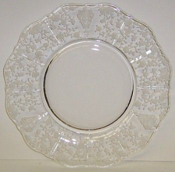 Cambridge Glass Crystal Clear ROSE POINT 8 Inch SALAD PLATE