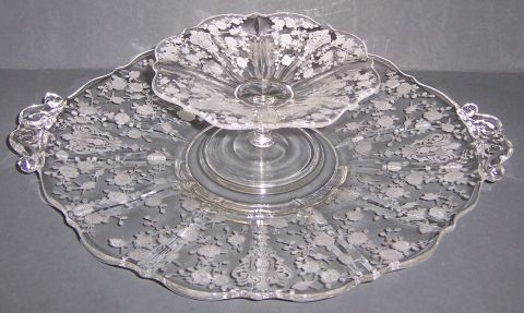 Cambridge Glass Crystal ROSE POINT CHEESE and CRACKER Set