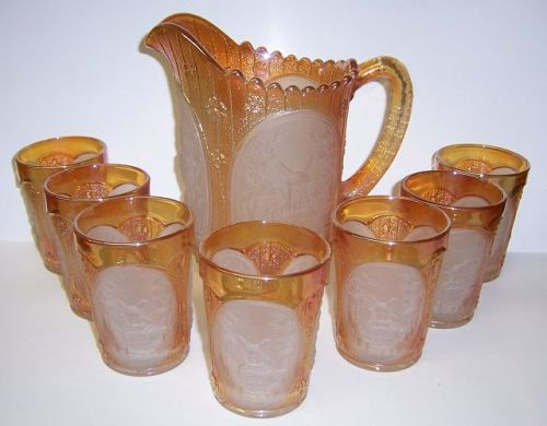 Imperial Marigold Carnival Glass WINDMILL WATER PITCHER SET, 8 Pieces