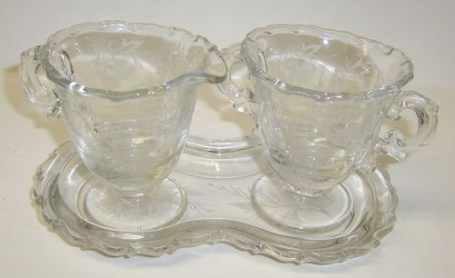 Fostoria Crystal HEATHER Small CREAMER, SUGAR BOWL and TRAY