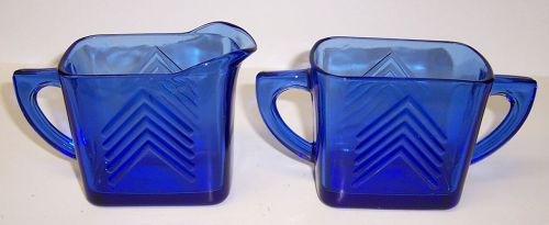 Hazel Atlas Cobalt Blue CHEVRON 3 Inch CREAMER and SUGAR BOWL