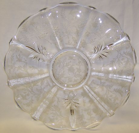 Fostoria Elegant Crystal CHINTZ 13 3/4 In Upturned Edge TORTE PLATE