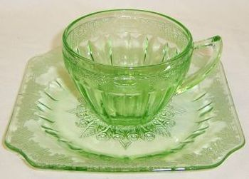Jeannette Depression Glass Green ADAM CUP and SAUCER