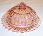 Jeannette Depression Pink WINDSOR DIAMOND BUTTER DISH with LID