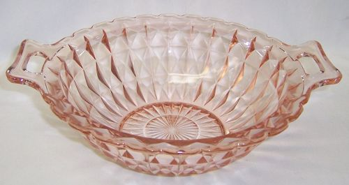 Jeannette Depression Pink WINDSOR DIAMOND Two-Handled BOWL