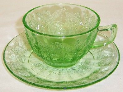 Jeannette Depression Green FLORAL POINSETTIA CUP and SAUCER