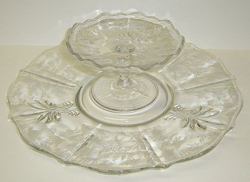 Fostoria Crystal Clear CHINTZ CHEESE and CRACKER Set, 2 Pieces