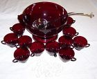 Anchor Hocking Fire King Royal Ruby 15 Pc PUNCH BOWL SET