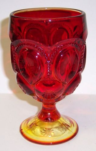 Smith Glass Red Amberina MOON and STARS 6 Inch WATER GOBLET