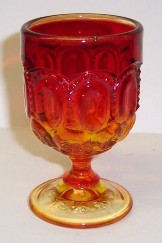 Smith Glass Red Amberina MOON and STARS 3 3/4 Inch WINE GOBLET