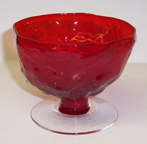 Seneca Red DRIFTWOOD 2 3/4 Inch Footed SHERBET DISH, Crystal Foot